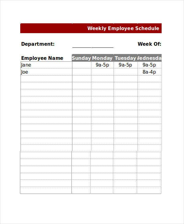 13+ Sample Excel Schedule Templates - Free, Example, Format | Free