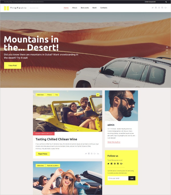 Fastest Travel Blog WordPress Theme $45