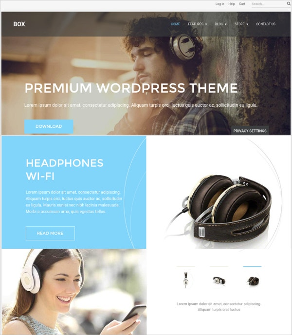 Simple eCommerce WordPress Theme $39
