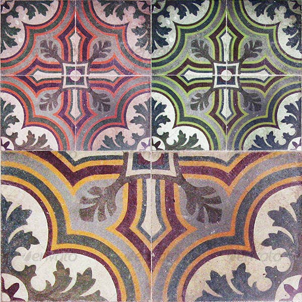 ancient colored floor tiles pattern