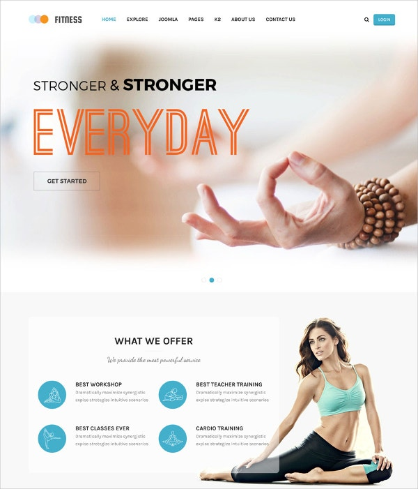Responsive Yoga Website Template $48