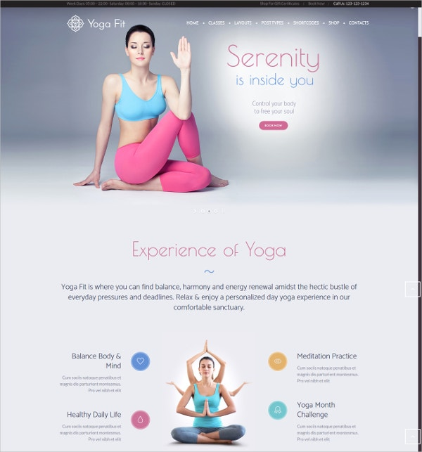 yoga fitness sports web template