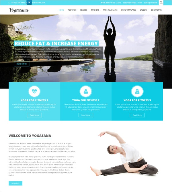 Professional Yoga WordPress Website Theme $39