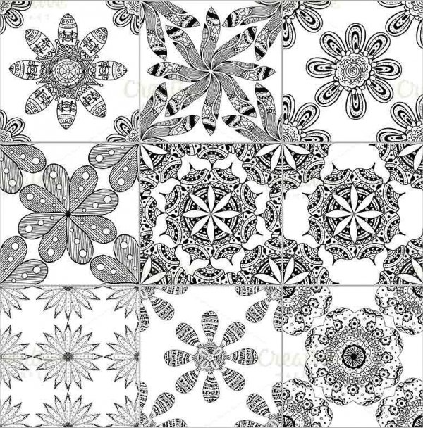 black and white geometric tiles pattern