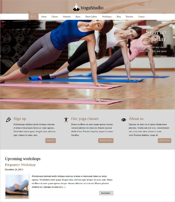 Yoga Studio WordPress Website Theme