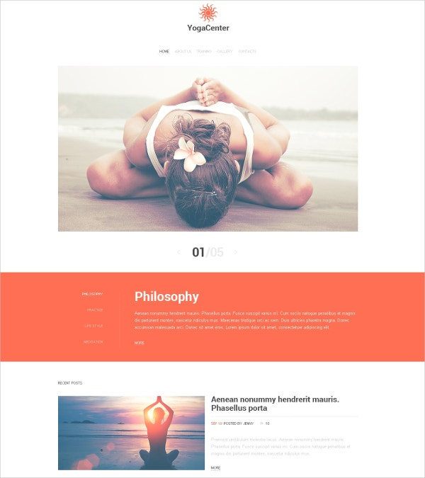 Yoga Center Responsive Website Template $69