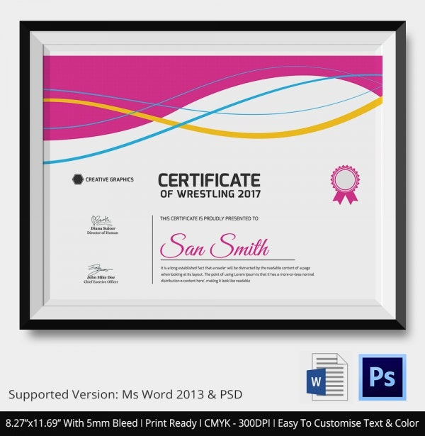 Wrestling Completion Certificate Download