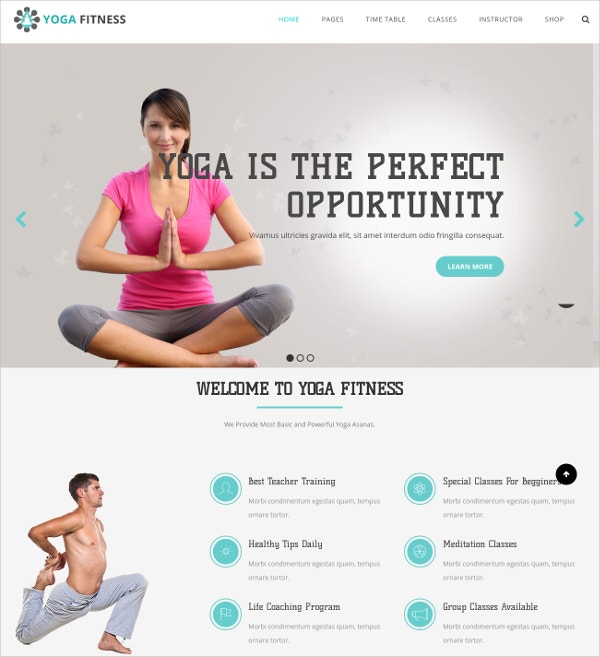 yoga fitness wp website template