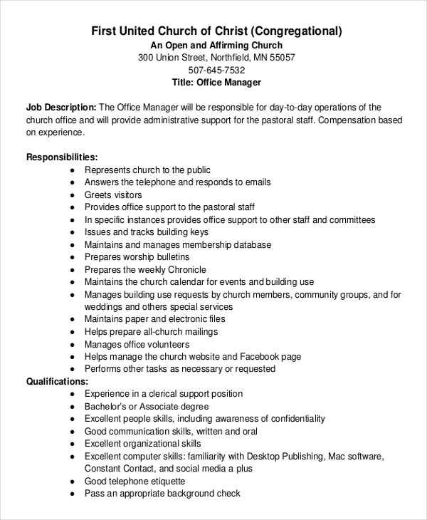 10 job description templates pdf doc free premium - Office administration executive job description ...