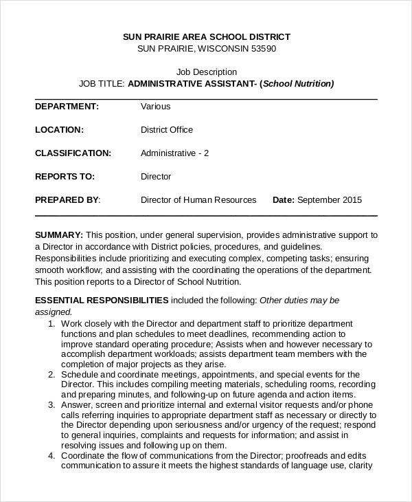 admin assistant job description template