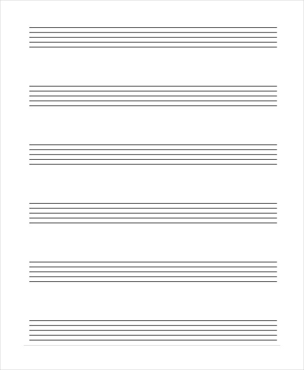 Lined Paper 10 Free Word PDF PSD Documents Download – Music Paper Template