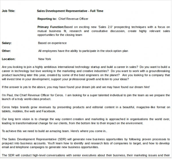 Job Description Template - 10+ Free Word, Pdf Documents Download