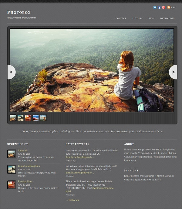 WordPress Theme for Photo Gallery Artist