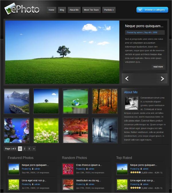 digital photography gallery wordpress theme