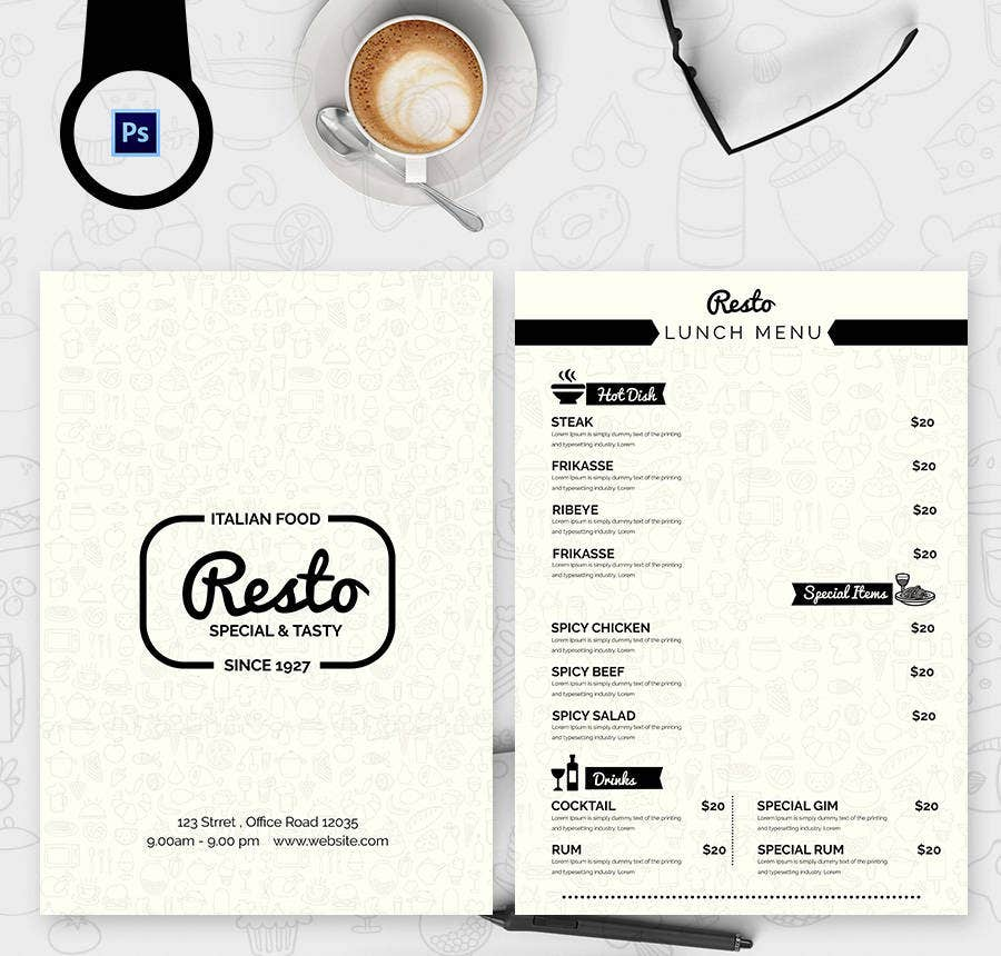 Menu Template - 21+ Free PSD, EPS, AI, InDesign, Word, PDF Documents ...