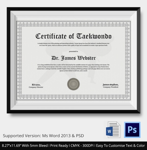 Teakwondo certificate 5 word psd format download free taekwondo certificate download yelopaper Image collections