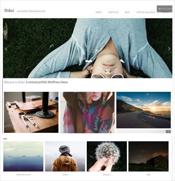 free minimalist photo gallery wordpress theme