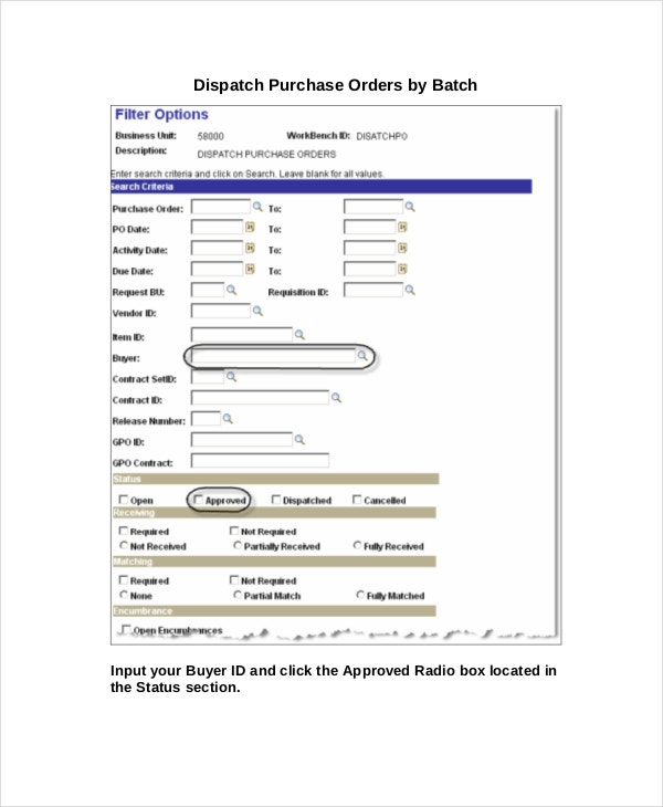 dispatch purchase order template