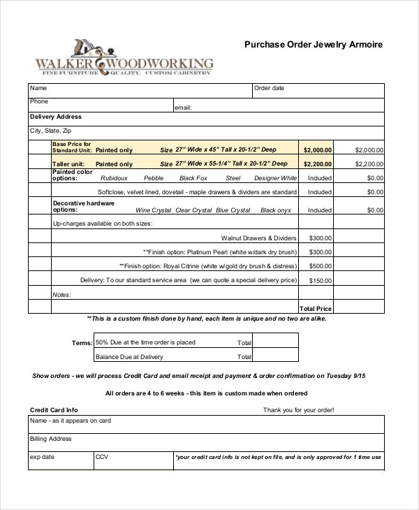 jewelry purchase order template