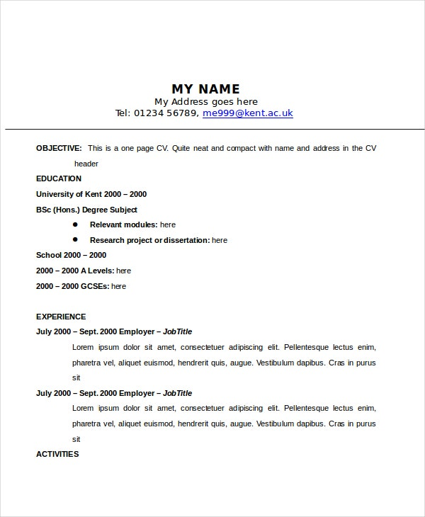1 page resume examples two page resume sample resume example
