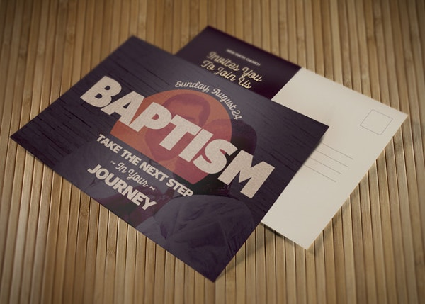 baptism church postcard template