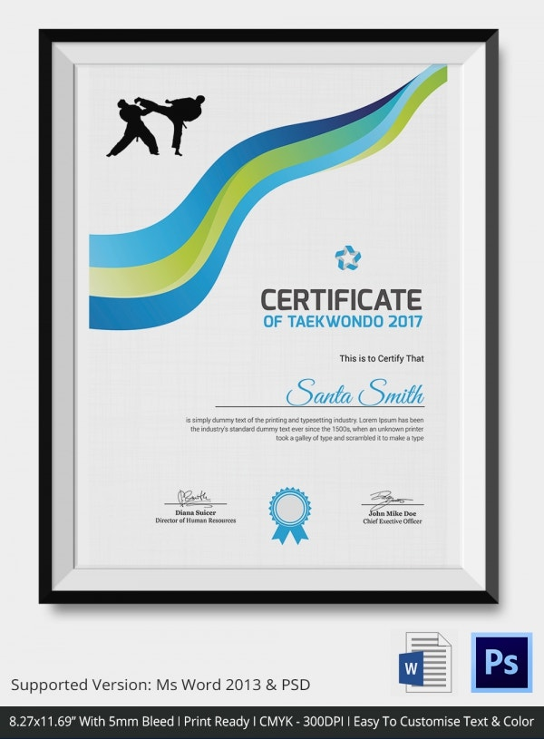Teakwondo Certificate 4 Word PSD Format Download