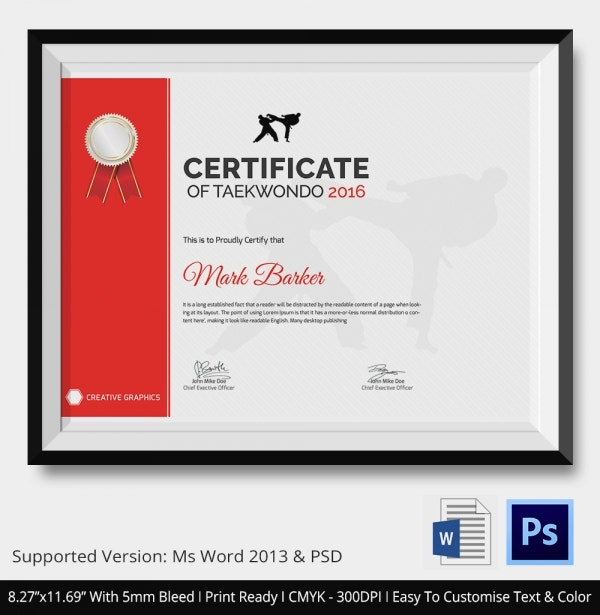 Premium Taekwondo Certificate Download