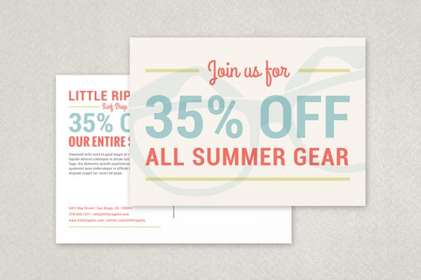 surf shop postcard template1