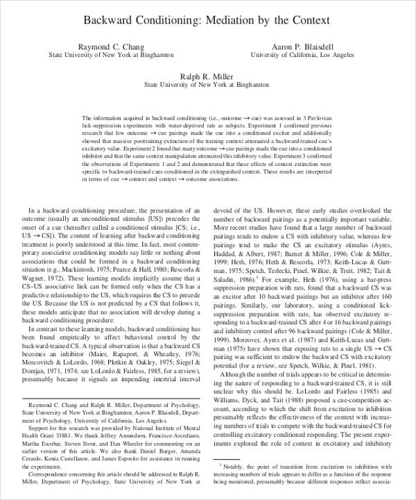 backward conditioning example