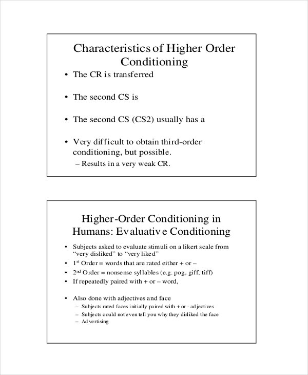 Higher Order Conditioning Example