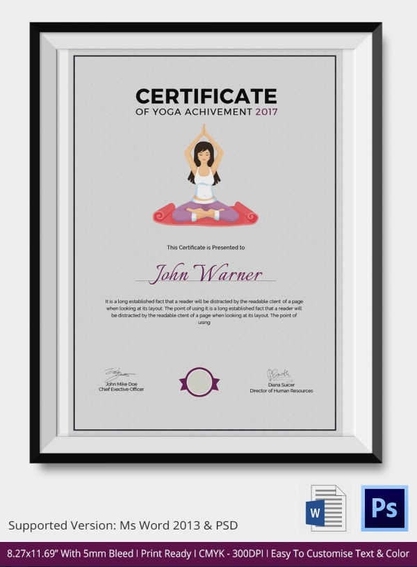 certificate of yoga achievement - Yoga Certificate Template