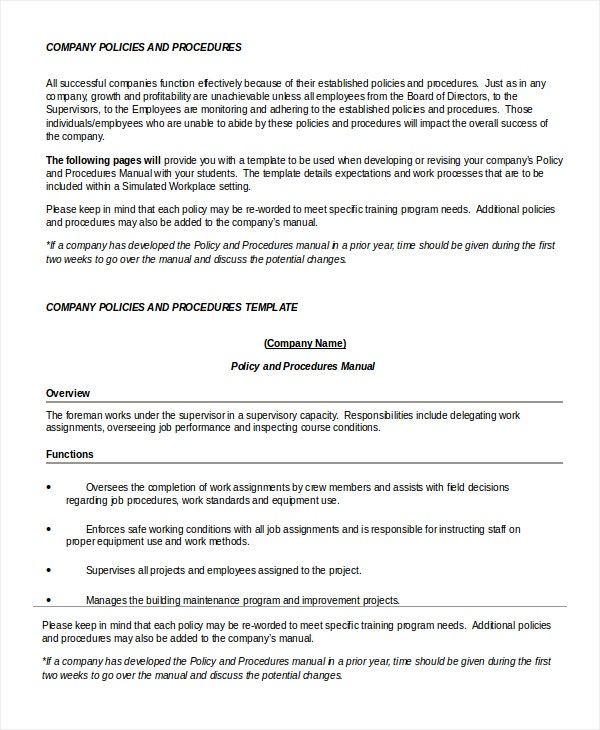 Policy template 7 free word pdf documents download for Company policy manual template