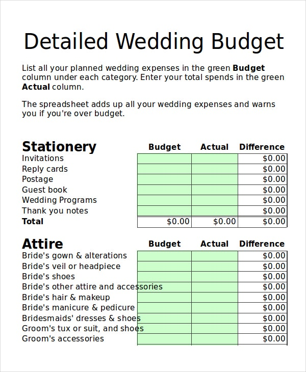 wedding budget planner template