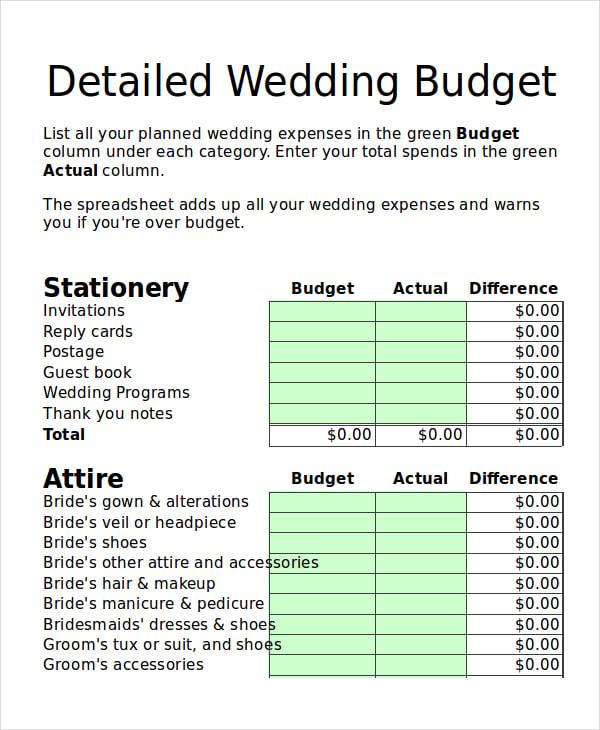 detailed wedding budget template