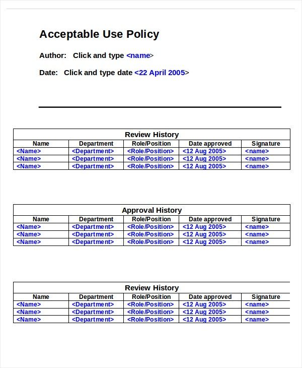Acceptable Use Policy Template Word