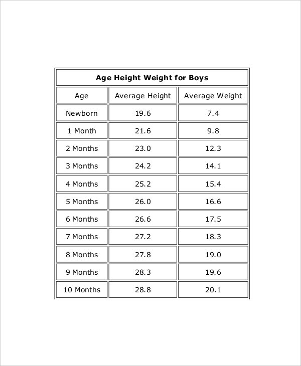 height weight of boys men chart template1