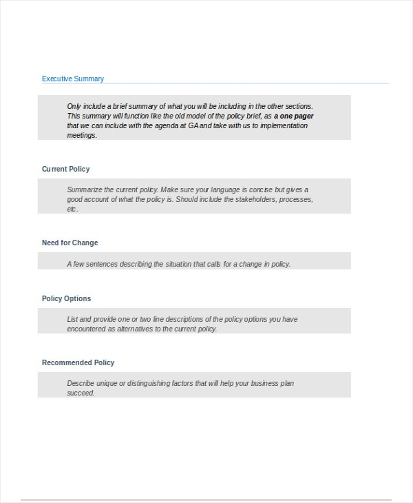 Policy Brief Template Word