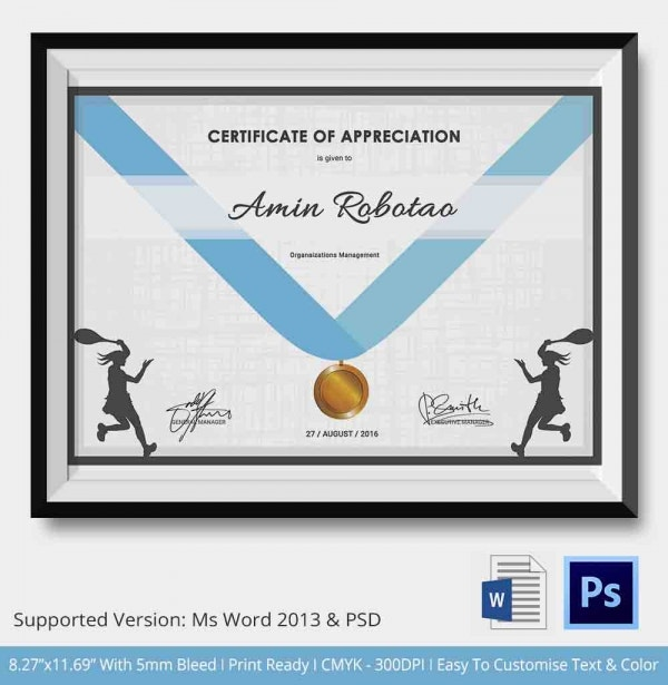 Tennis Competition Appreciation Certificate