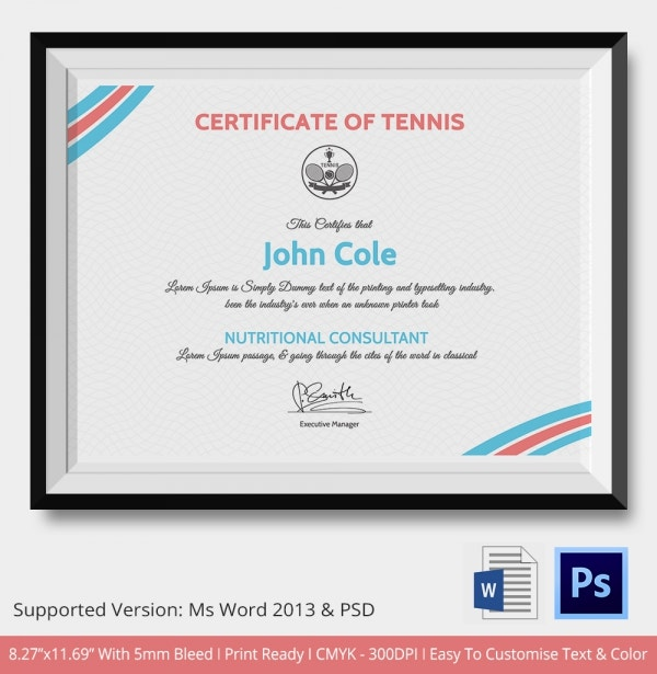 Tennis Certificate of Excellence