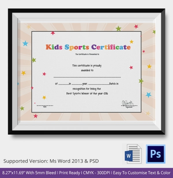 Best Kids Sports Certificates