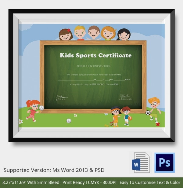 School kids Sports Certificate