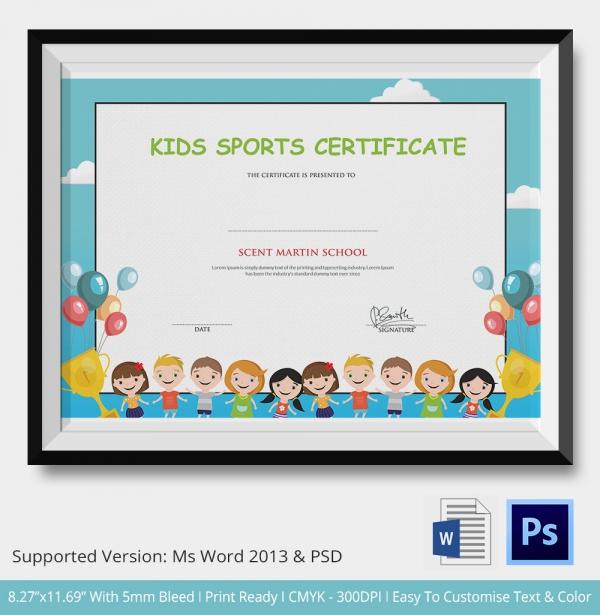 kids sports certificate 5 word psd format download