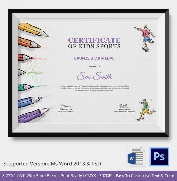 Premium Sports Certificates for Kids