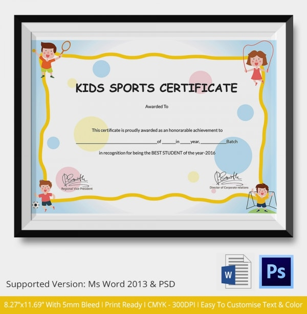 Kids Sports Certificate 5 Word PSD Format Download – Sport Certificate Templates for Word