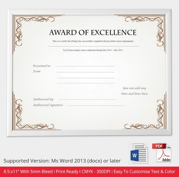 Excellence Award Certificate Template Download  Award Templates Word