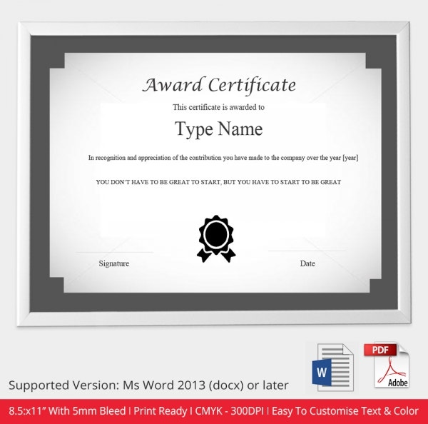 Certificate Template 49 Free Printable Word Excel PDF PSD – Award Templates Word