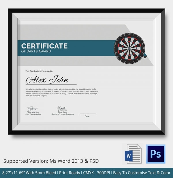 Darts certificates template 5 word psd format download free darts award certificate yadclub Choice Image
