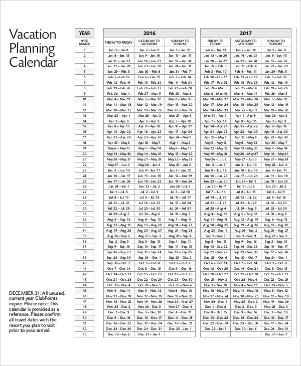 Travel Planning Calendar Template