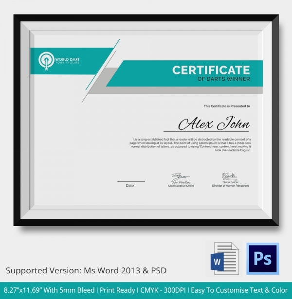 Darts Winner Certificate Template