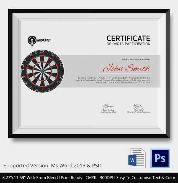 Participation Certificate of Darts